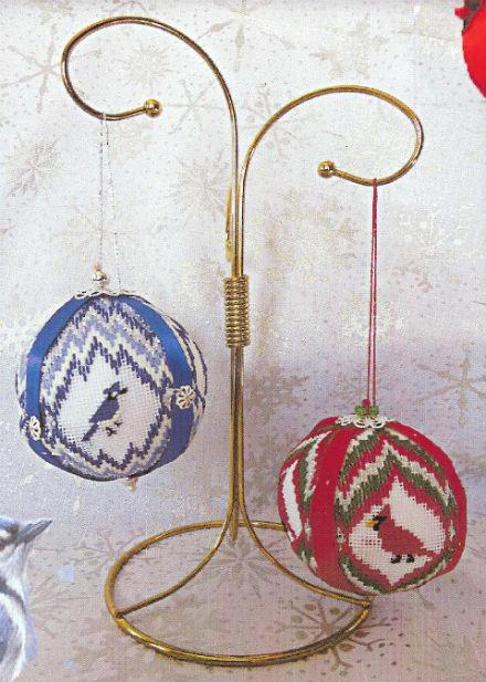 click here to view larger image of Christmas Balls 4 - Blue Jays and Cardinals (counted canvas chart)