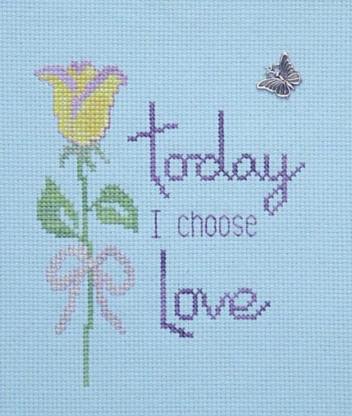 click here to view larger image of I Choose Love (chart with charms/buttons)