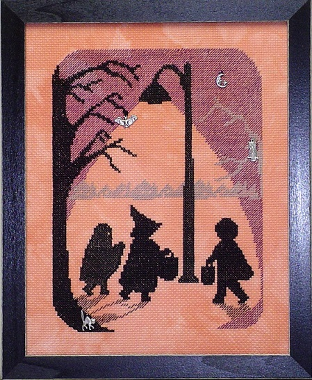 click here to view larger image of Scary Night 4 - Halloween Silhouette (chart with charms/buttons)