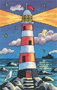 click here to view larger image of Lighthouse By Night - By The Sea (27ct) (counted cross stitch kit)