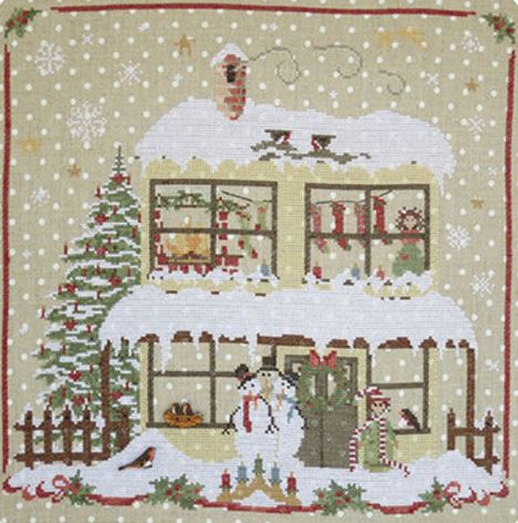 click here to view larger image of Christmas Avenue - Snowmens House (Includes 2 Buttons) (chart)