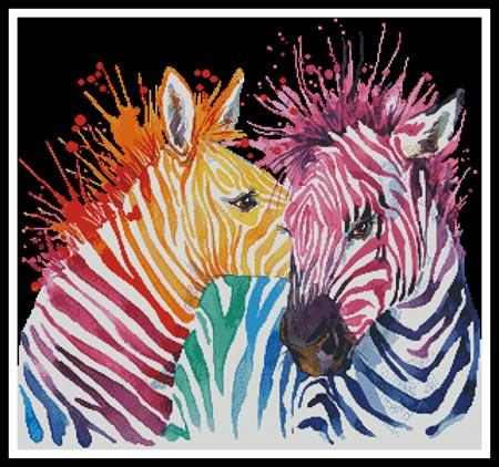 click here to view larger image of Colourful Zebras (Black Background) (chart)