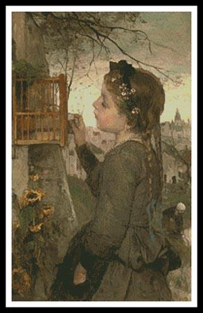 click here to view larger image of Girl Feeding A Bird In A Cage (chart)