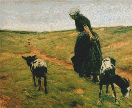 click here to view larger image of Woman And Her Goats In The Dunes (chart)