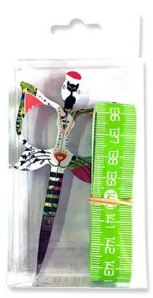 click here to view larger image of Bohin Cat Design 3.5in Green Scissor - Gift Set (accessory)