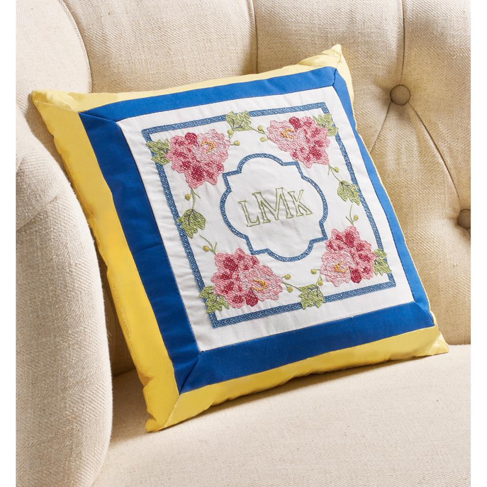 click here to view larger image of Stamped Embroidery Monogram Pillow Kit 10in x 10in - Waverly-Charmed (stamped cross stitch kit)