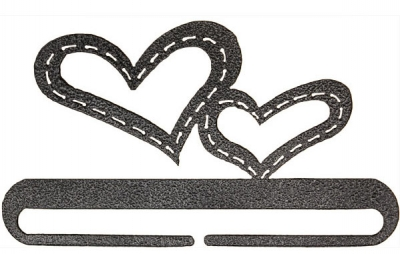 click here to view larger image of Stitched Hearts Split Bottom Bellpull - Charcoal - 6in (accessory)