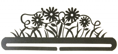 click here to view larger image of Daisy And Bee Split Bottom Bellpull - Charcoal - 12in (accessory)
