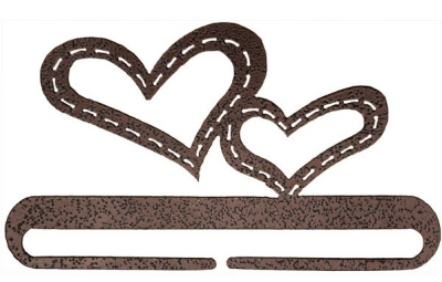 click here to view larger image of Stitched Hearts Split Bottom Bellpull - Copper Vein - 6in (accessory)