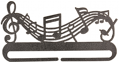 click here to view larger image of Music Split Bottom Bellpull - Charcoal - 6in (accessory)