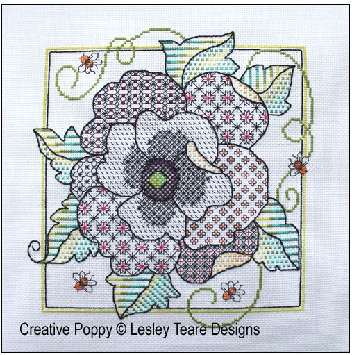 click here to view larger image of Poppy Blackwork (chart)