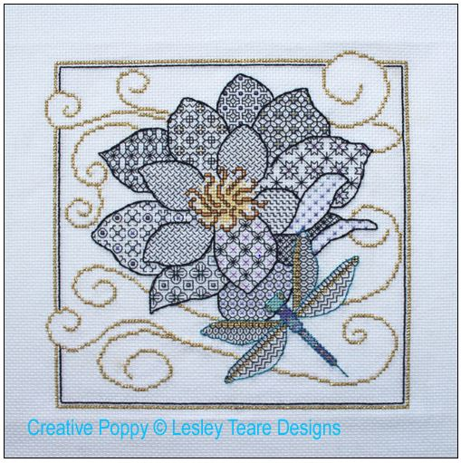 click here to view larger image of Flower & Dragonfly Blackwork (chart)