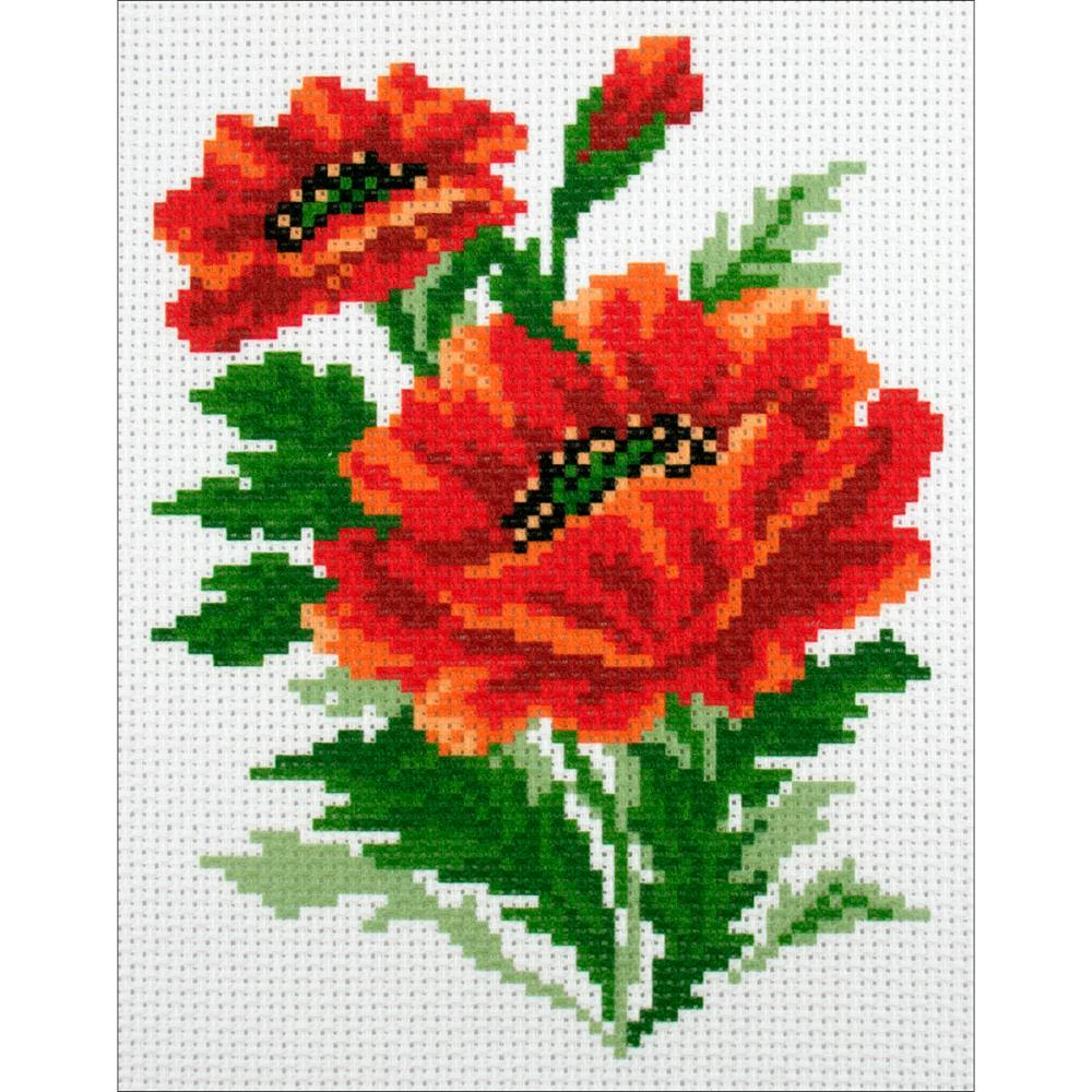 click here to view larger image of Poppies (stamped cross stitch)