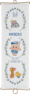 click here to view larger image of Boy Birth Announcement (counted cross stitch kit)