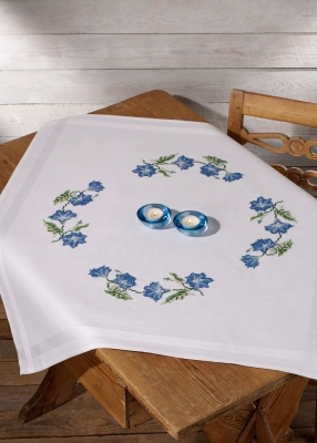 click here to view larger image of Blue Flowers Table Topper (stamped cross stitch kit)