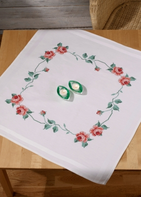 click here to view larger image of Roses Table Topper (stamped cross stitch kit)