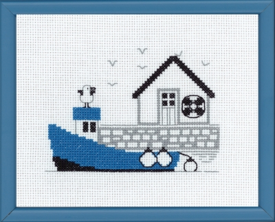click here to view larger image of Blue Boat (counted cross stitch kit)