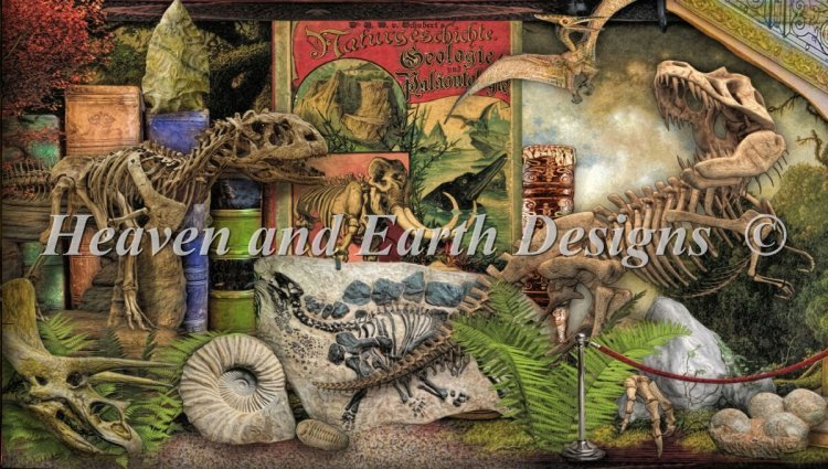 click here to view larger image of Quick Stitch - Museum Shelf Dinosaurs (chart)