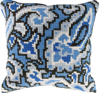 click here to view larger image of Blue Design Pillow (needlepoint)
