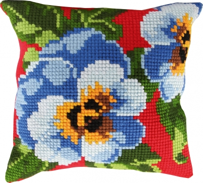 click here to view larger image of Pansies Pillow (needlepoint)