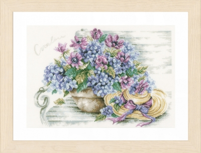 click here to view larger image of Hydrangea and Hat (counted cross stitch kit)