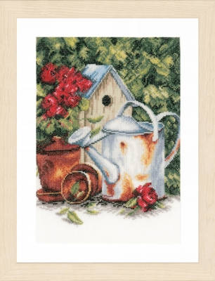 click here to view larger image of Watering Can/Birdhouse (counted cross stitch kit)