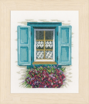 click here to view larger image of Window Blue Shutters (counted cross stitch kit)