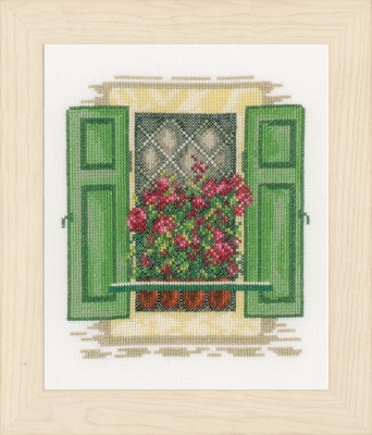 click here to view larger image of Window Green Shutters (counted cross stitch kit)
