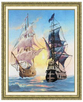click here to view larger image of Meeting on the Sunset (counted cross stitch kit)
