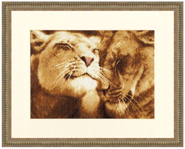 click here to view larger image of Lions in Love (counted cross stitch kit)