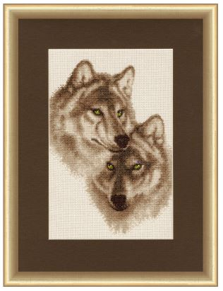 click here to view larger image of Wolves In Love (counted cross stitch kit)