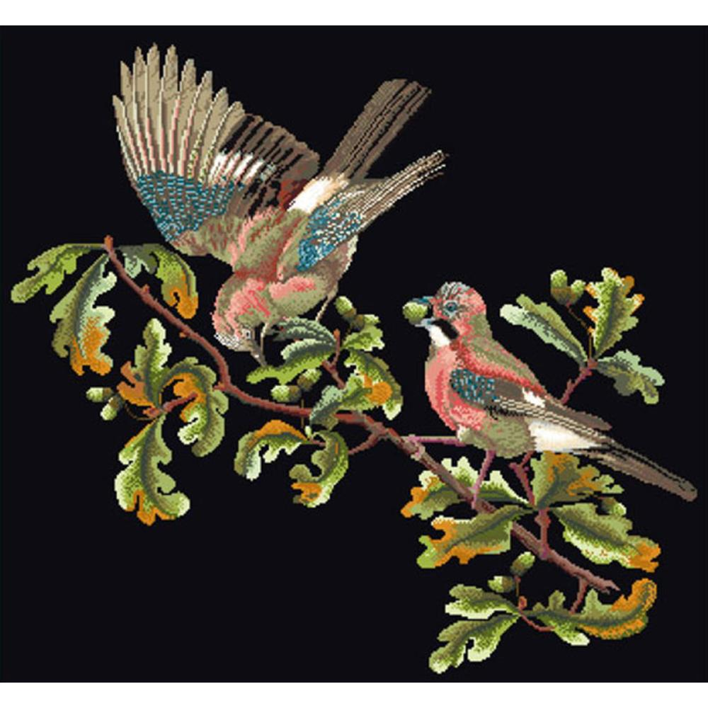 click here to view larger image of Birds on Branch - Black Aida (counted cross stitch kit)