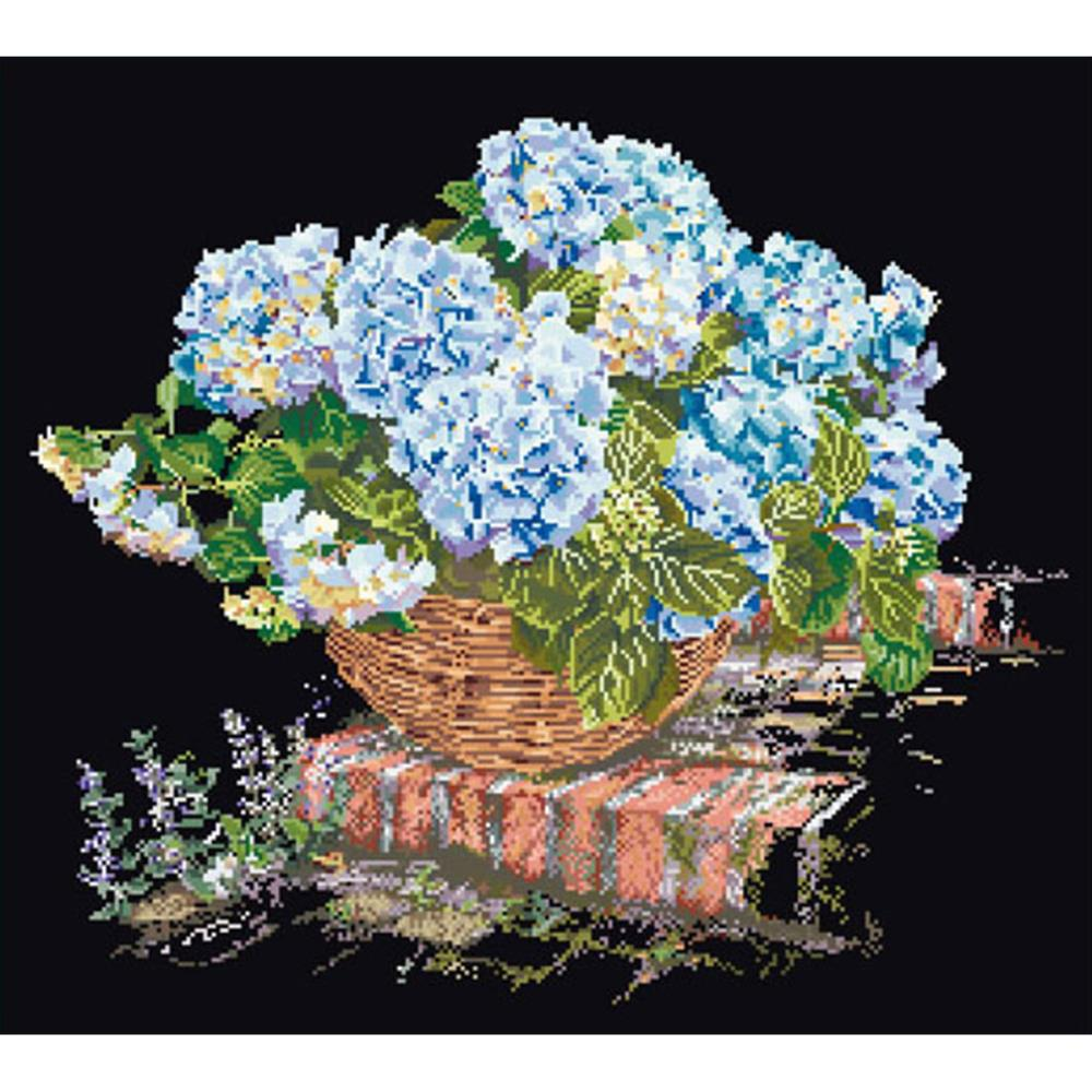 click here to view larger image of Blue Hydrangea In Basket - Black Aida (counted cross stitch kit)