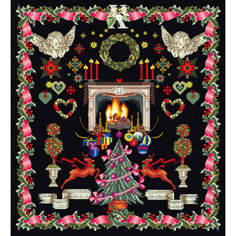 click here to view larger image of Christmas Sampler - Black Aida (counted cross stitch kit)