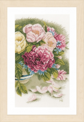 Peony Roses - click here for more details about counted cross stitch kit