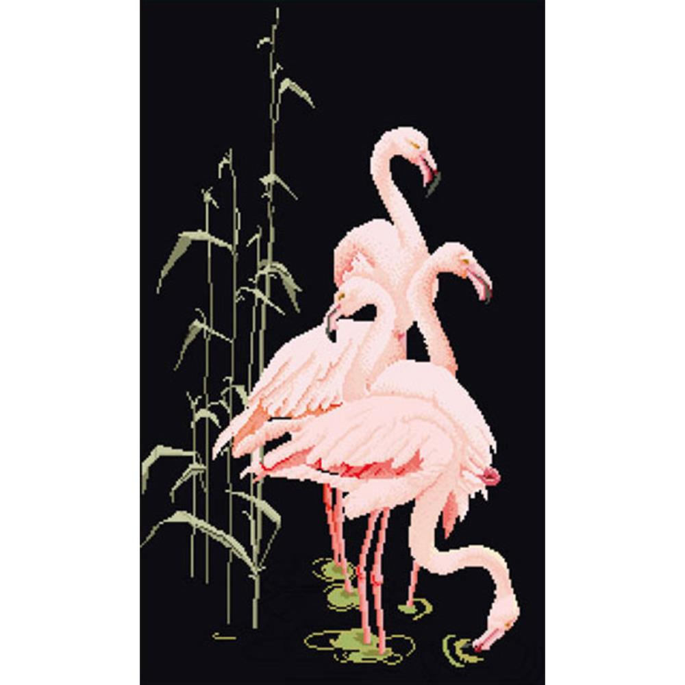 click here to view larger image of Feeding Flamingos - Black Aida (counted cross stitch kit)