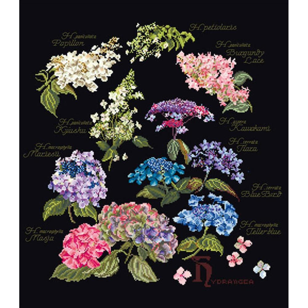 click here to view larger image of Floral Sprigs - on Black (counted cross stitch kit)