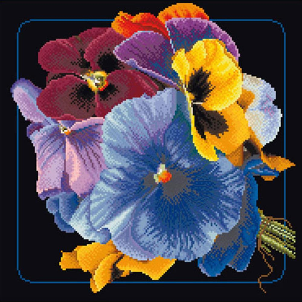 click here to view larger image of Flower Collection 2 - On Black (counted cross stitch kit)