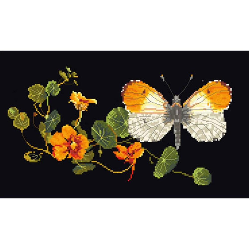 click here to view larger image of Orange Tip Butterfly - On Black (counted cross stitch kit)