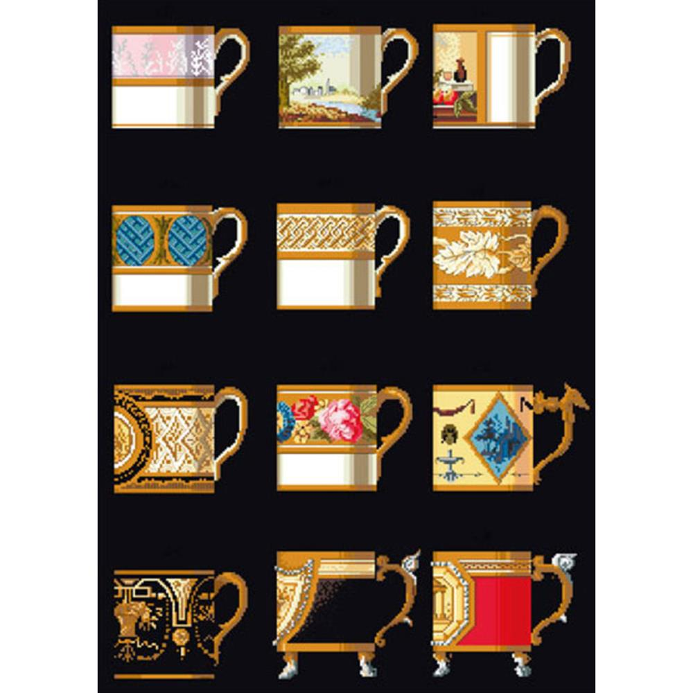click here to view larger image of Ornamental Cups - On Black (counted cross stitch kit)