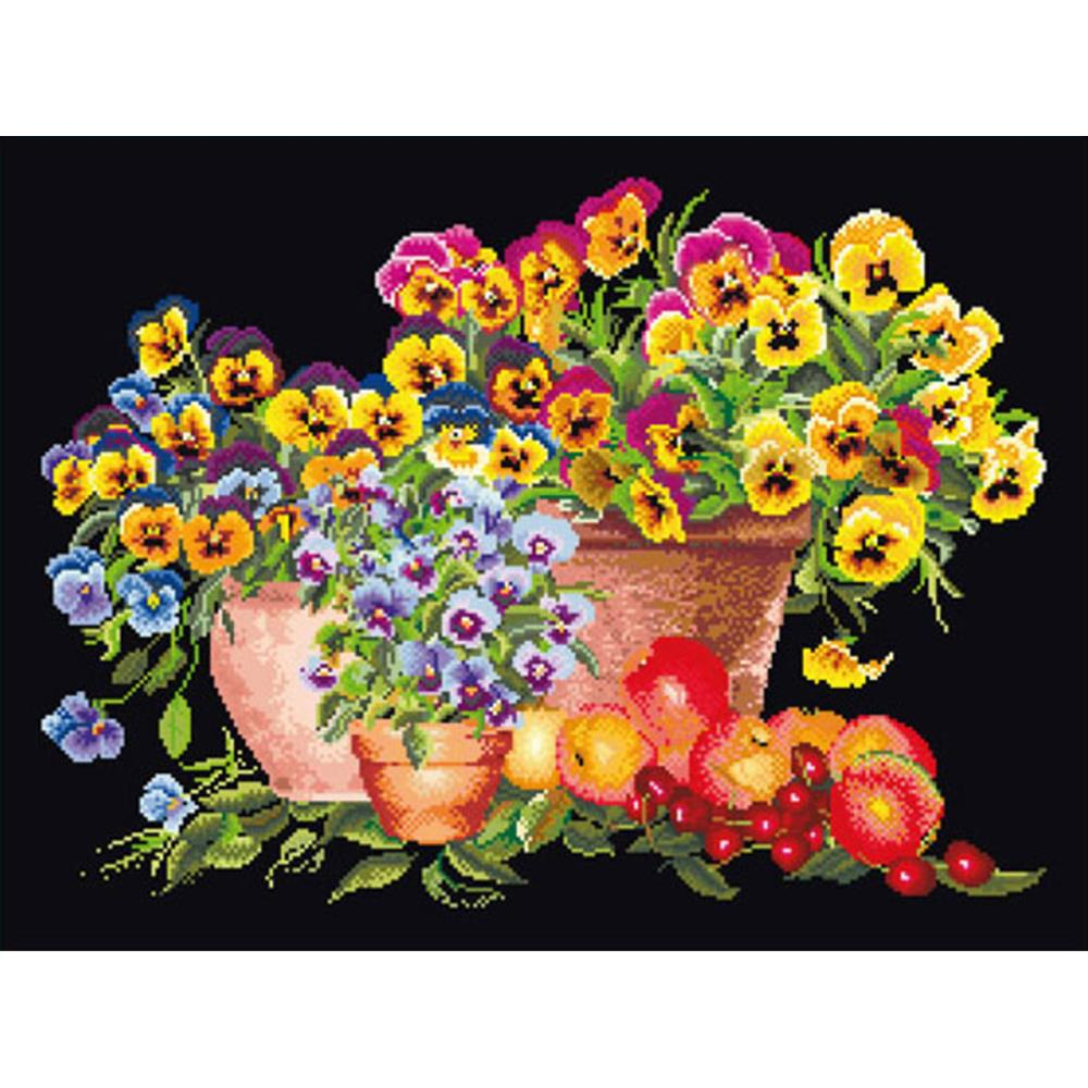 click here to view larger image of Pansies, Pansies, Pansies - On Black (counted cross stitch kit)