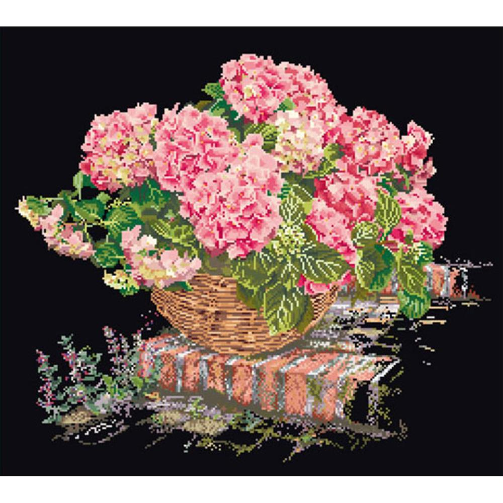 click here to view larger image of Pink Hydrangea In A Basket - On Black (counted cross stitch kit)