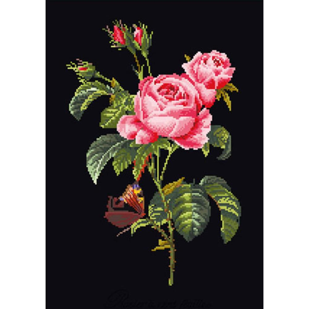 click here to view larger image of Roses - On Black (counted cross stitch kit)