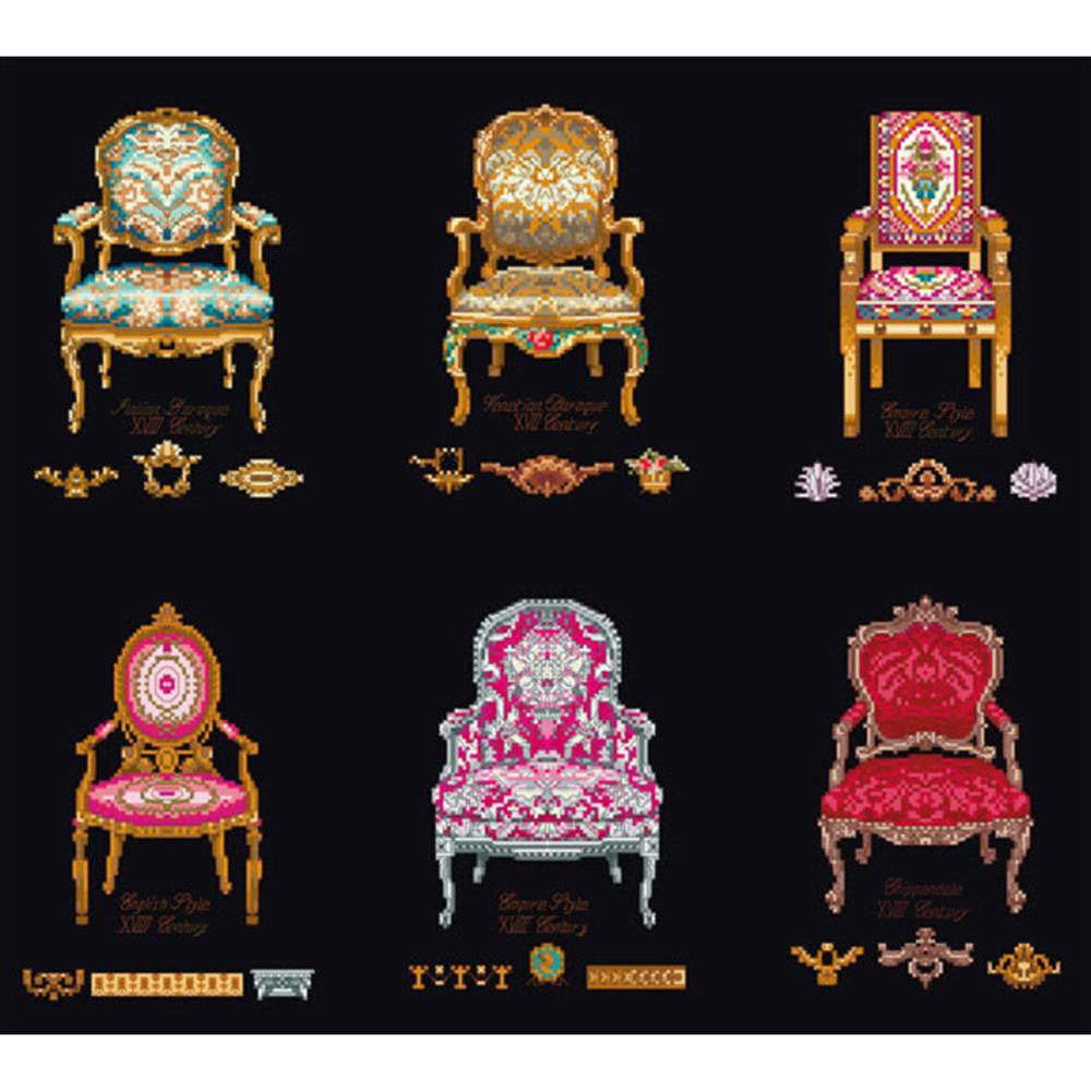 click here to view larger image of Six Chairs - On Black (counted cross stitch kit)