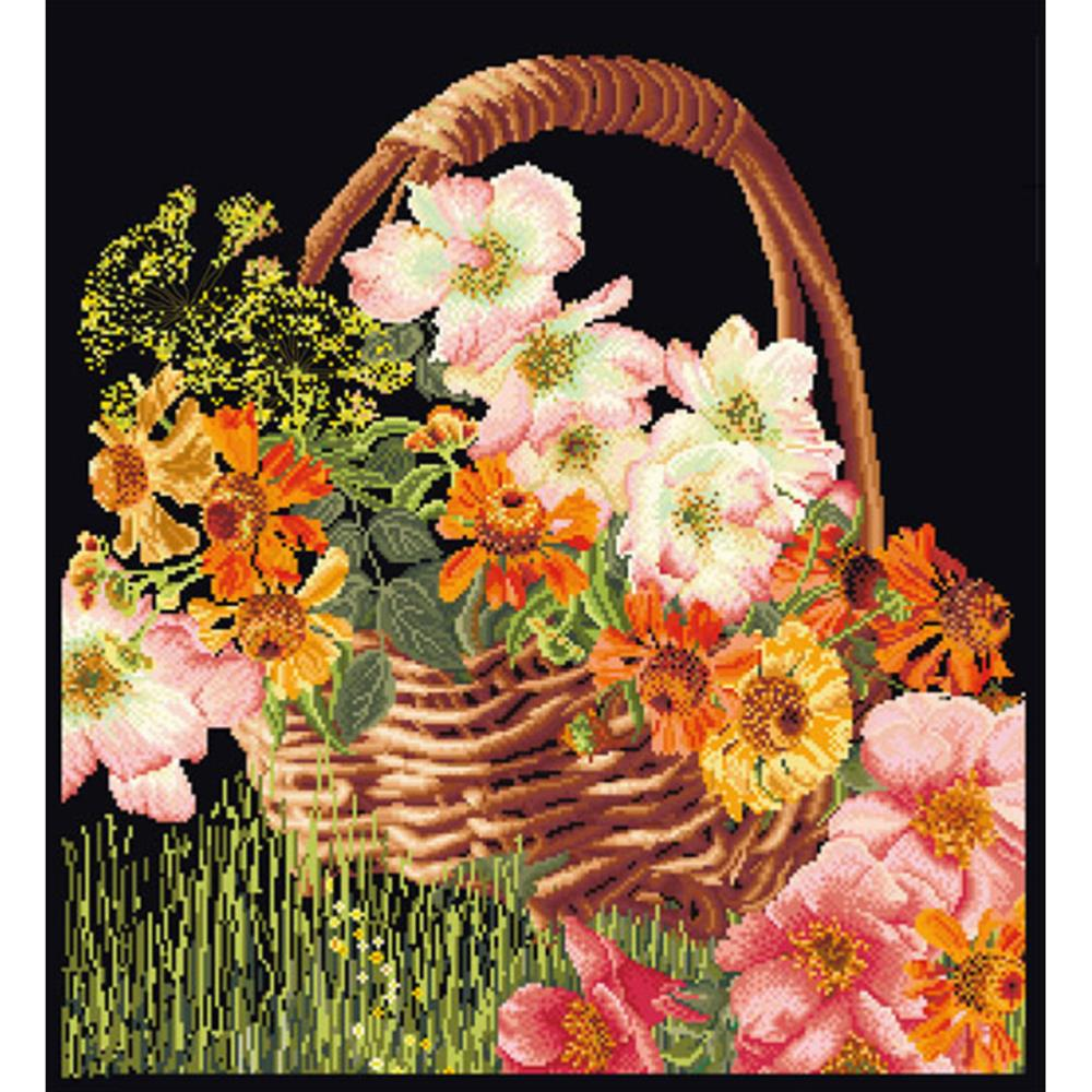 click here to view larger image of Summer Basket - On Black (counted cross stitch kit)