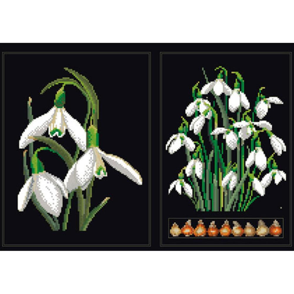 click here to view larger image of White Flowers (Snowdrops) - On Black (counted cross stitch kit)