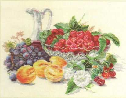 click here to view larger image of Apricot and Raspberries (counted cross stitch kit)