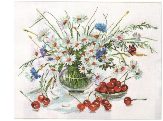 click here to view larger image of Daisies and Cherries (counted cross stitch kit)