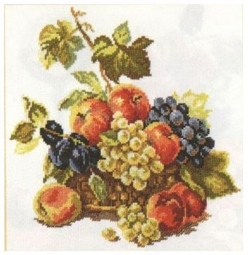 click here to view larger image of Apples and Grapes (counted cross stitch kit)