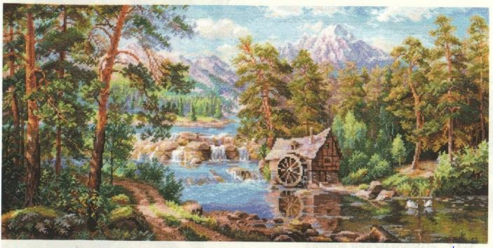 click here to view larger image of Landscape With a Watermill (counted cross stitch kit)